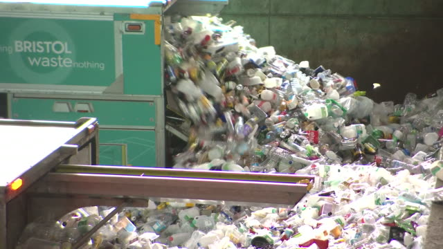interior shots of used plastics containers at the beginning of the recycling process on 23 2020 in bristol, united kingdom - plastic container stock videos & royalty-free footage