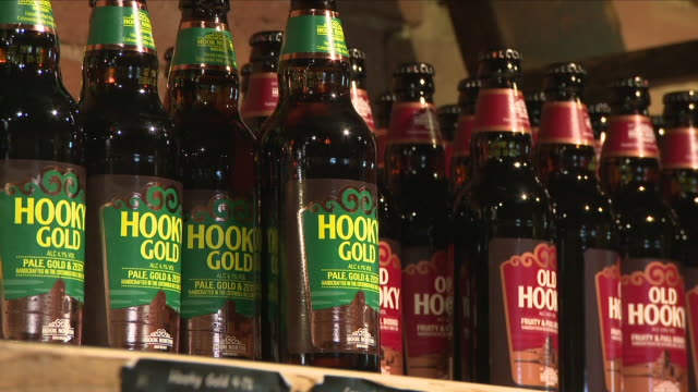 interior shots of various bottles of beer ale and lager produced by hook norton brewery on 20th june 2018 hook norton england - ale stock videos & royalty-free footage
