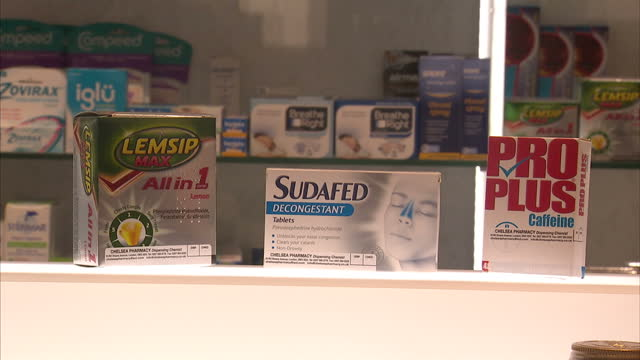 interior shots of various cold and flu medicines laid out on table including lemsip max sudafed decongestant pro plus caffeine on march 08 2016 in... - painkiller stock videos & royalty-free footage