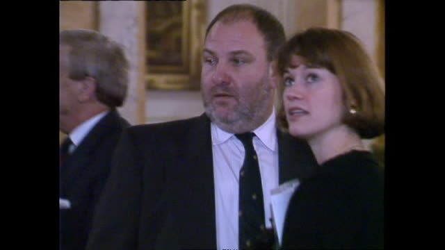 interior shots of various people standing around talking including harvey goldsmith and baroness lynda chalker at the red cross 125th birthday event... - baroness stock videos & royalty-free footage