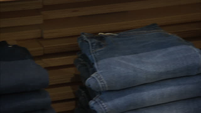 Interior shots of various styles of jeans on display at a Donna Ida boutique in Chelsea>> on June 23 2015 in London United Kingdom