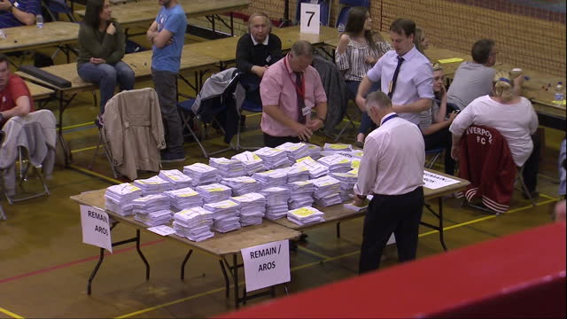 interior shots of volunteers counting ballots on the eu referendum on june 24 2016 in cardiff wales - ballot box stock videos & royalty-free footage