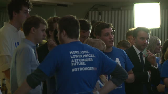 interior shots of vote remain campaigners waiting for the eu referendum results at southbank on june 23, 2016 in london, england. - referendum stock videos & royalty-free footage