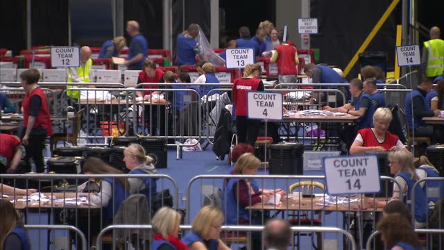Interior shots of votes being counted in a large hall in Belfast during the EU referendum on June 23 2016 in Belfast Northern Ireland