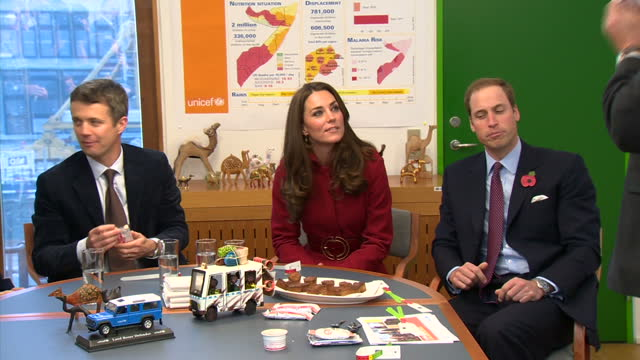 interior shots of william and catherine duke and duchess of cambridge being educated about crisis in somalia and east africa and offered taste of... - prinz königliche persönlichkeit stock-videos und b-roll-filmmaterial