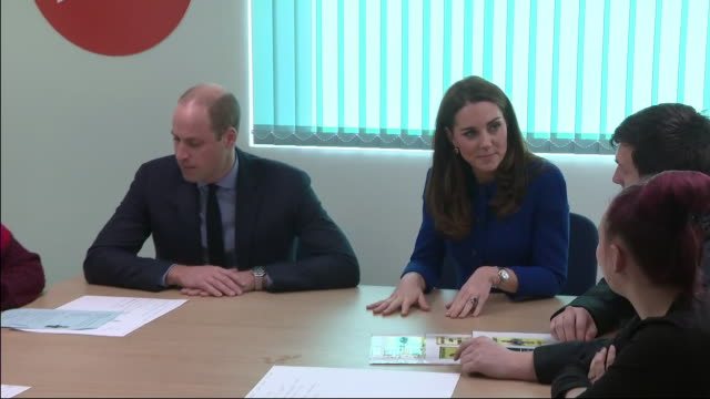 interior shots of william and kate the duke and duchess of cambridge meeting young people at barnsley's local centrepoint hostel on 14 november 2018... - 公爵夫人点の映像素材/bロール