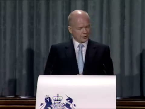 interior shots of william hague foreign secretary at a press conference stating how the world has changed and the effect this has on britain's... - persuasion stock videos & royalty-free footage