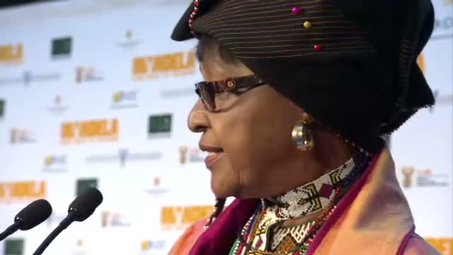 Interior shots of Winnie Mandela speaking to an audience at the premiere of Mandela Long Walk to Freedom at on November 03 2013 in Johannesburg
