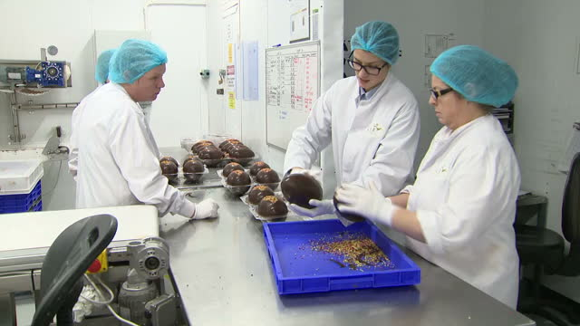 interior shots of workers decorating luxury chocolate eggs at the lir chocolates factory on december 05 2017 in navan ireland - chocolate factory stock videos & royalty-free footage