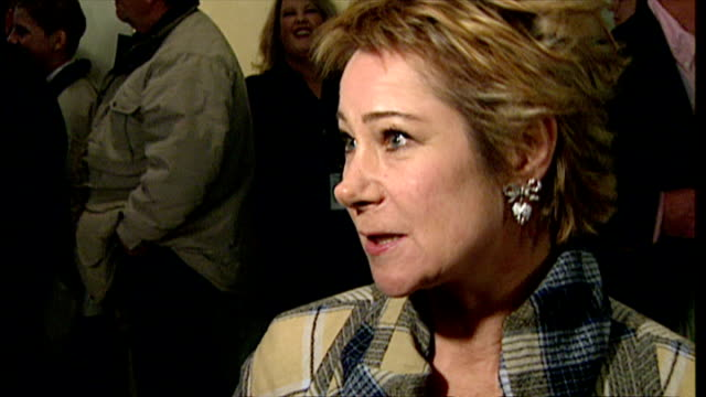 Interior shots of Zoe Wanamaker being interviewed by press at the premiere of Harry Potter and the Philosopher's Stone on November 4 2001 in London...