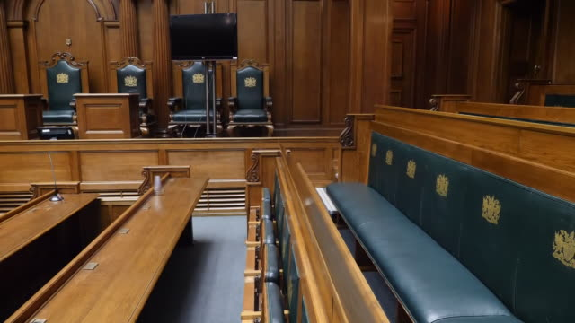 interior shots old bailey court rooms on 13 january 2020 in london united kingdom - court room stock-videos und b-roll-filmmaterial
