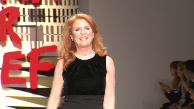Interior shots on Sarah Ferguson Duchess of York runway catwalk at Fashion For Relief charity fashion show on February 20 2015 in London England