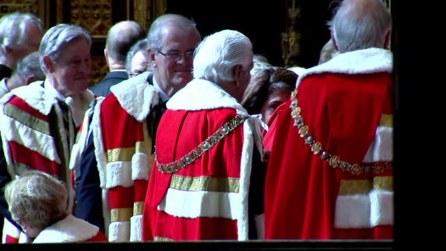 Interior shots peers members of House of Lords milling in the Peer's Lobby ahead of Queen's Speech on May 27 2015 in London England