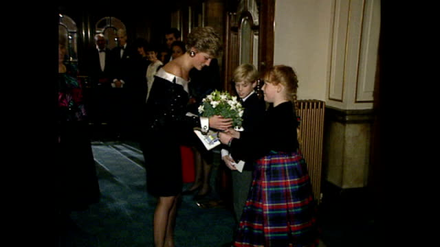 interior shots pf princess diana princess of wales arriving at the london coliseum for the english national opera for mozart wearing a black sequin... - london coliseum stock videos and b-roll footage