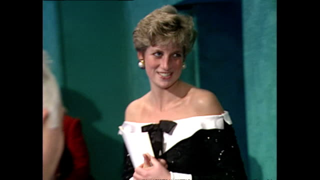 interior shots pf princess diana princess of wales meeting cast of english national opera's mozart at the london coliseum on 7 november 1991 london... - london coliseum stock videos and b-roll footage