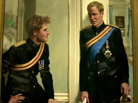 interior shots portrait painting of princes william & harry dressed in the uniform of the household cavalry hung in the national portrait gallery... - uniform stock videos & royalty-free footage