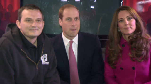 Interior shots pregnant Catherine Duchess of Cambridge and Prince William Duke of Cambridge meeting young people on top deck of XLP Mobile recording...