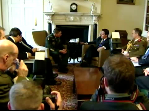 interior shots prime minister david cameron sits down for talks with general david petraeus & other military officials inside number 10 downing... - other stock videos & royalty-free footage