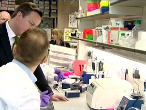 vídeos de stock, filmes e b-roll de interior shots prime minister david cameron speaking to staff at cancer research uk's cambridge research institute government launches plans for dna... - david cameron político