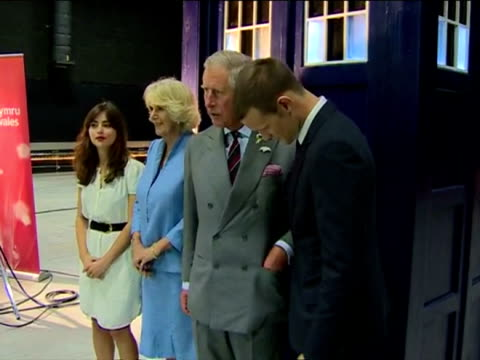 interior shots prince charles and camilla photo opportunity in front of the tardis phone box with matt smith and jenna louise coleman. prince charles... - ドクター フー点の映像素材/bロール
