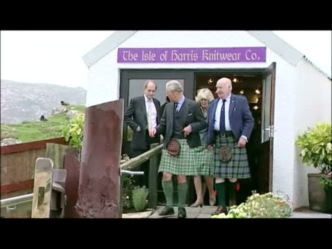 interior shots prince charles & camilla duchess of cornwall touring knitwear & tweed shop on the isle of harris. exterior shots prince charles... - 40 seconds or greater stock videos & royalty-free footage