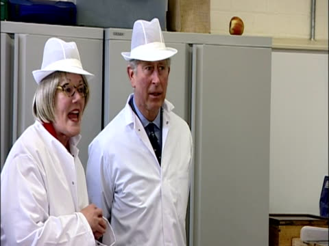 interior shots prince charles camilla duchess of cornwall walk into butchers wearing white coats white hats meet chat with staff at the the welbeck... - 40 seconds or greater stock videos & royalty-free footage
