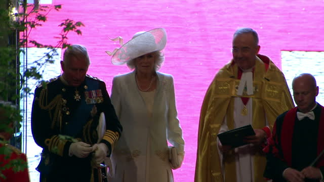 interior shots prince charles & his wife camilla, duchess of cornwall greet members of the clergy inside the abbey entrance sky news royal wedding... - clergy stock videos & royalty-free footage