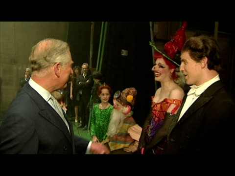 Interior shots Prince Charles meets various cast crew members of the Shek stage musical Interior shots Prince Charles chats with Richard Blackwood...