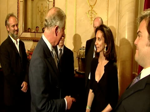 interior shots prince charles meets with actor jack black the main stars of shrek the musical princess fiona played by amanda holden shrek played by... - prince stock videos and b-roll footage