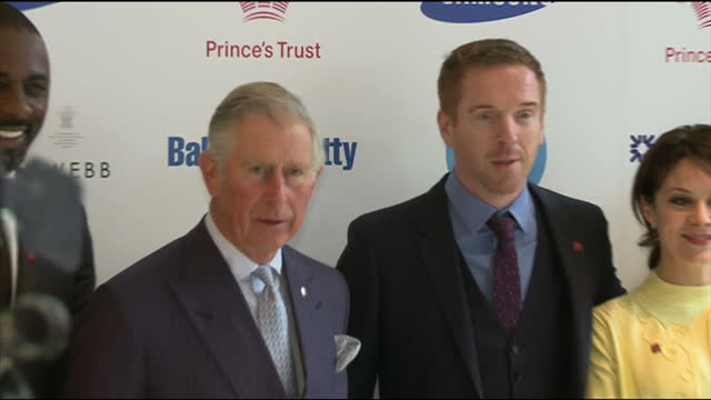 Interior shots Prince Charles poses for photo call with Damian Lewis Idris Elba others at the Princes Trust Awards Prince Charles Poses for Photo...