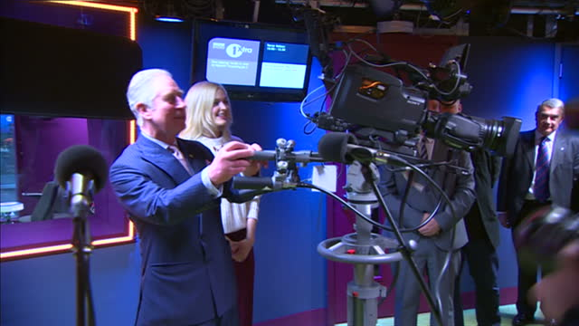 interior shots prince charles, prince of wales and camilla, duchess of cornwall on visit to bbc new broadcasting house, prince charles is shown how... - bbc radio stock videos & royalty-free footage