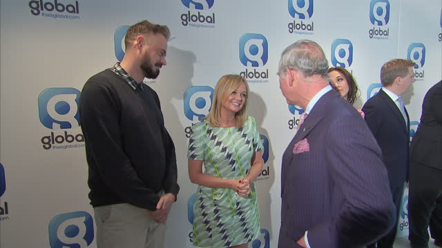 interior shots prince charles, prince of wales meeting heart fm radio djs, emma bunton and jamie theakston whilst on tour of global radio... - jamie theakston stock videos & royalty-free footage