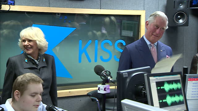 Interior shots Prince Charles Prince of Wales on visit to Kiss Radio jokes with Breakfast show DJs about reading a piece for their Breakfast show...