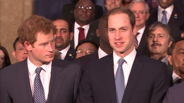 interior shots prince charles prince of wales standing with his sons prince william duke of cambridge prince harry and mp william hague for family... - principe carlo principe del galles video stock e b–roll
