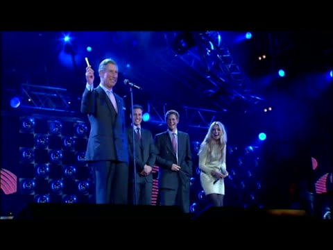 interior shots prince charles speech on stage with princes william & harry, camilla, duchess of cornwall, and cat deeley. interior shots charles... - ronan keating stock videos & royalty-free footage
