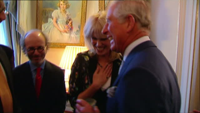 interior shots prince charles talking with joanna lumley and other guests at reception prince charles hosts a reception for the samaritans charity at... - joanna lumley stock videos & royalty-free footage