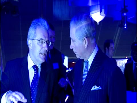 stockvideo's en b-roll-footage met interior shots prince charles tours climate change exhibits at the science museum chatting with staff prince charles visits the science museum on... - meer dan 50 seconden