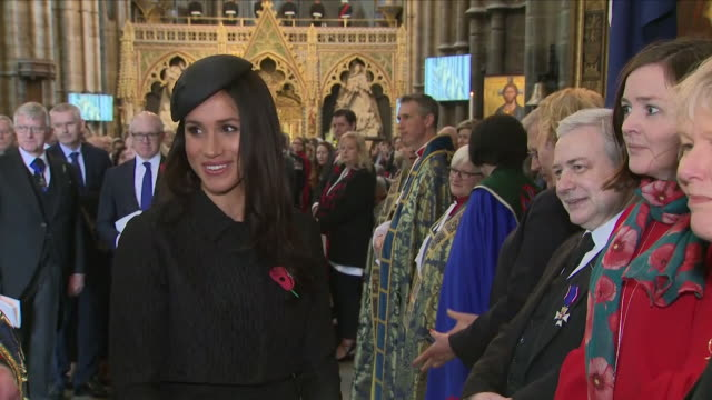 interior shots prince harry and meghan markle talking to people after westminster abbey anzac day service on 25 april 2018 in london, england. - anzac day stock videos & royalty-free footage