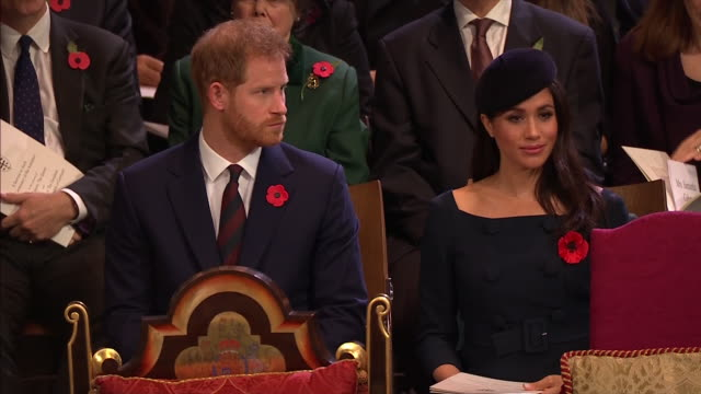 interior shots prince harry duke of sussex and meghan duchess of sussex attend the centenary of the armistice service at westminster abbey on... - 礼拝点の映像素材/bロール
