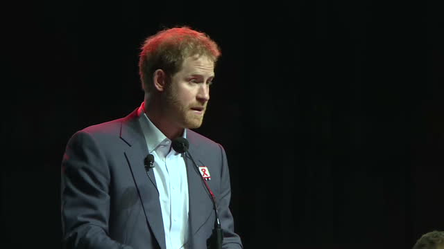 durban interior shots prince harry gives speech speaking on advancements in treatment and care mentioning his mother dianna princess of wales - durban stock videos & royalty-free footage