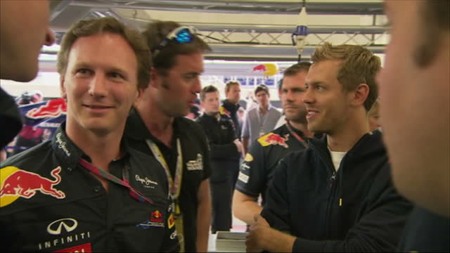 interior shots prince harry meets & chats with red bull drivers sebastian vettel & mark webber in the pits at silverstone prince harry visits red... - silverstone stock videos & royalty-free footage