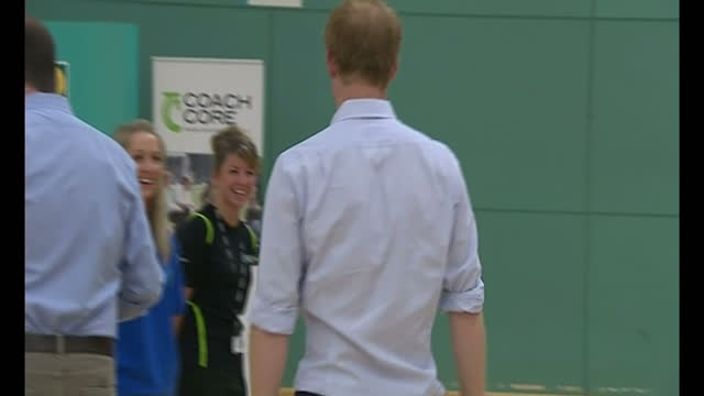interior shots Prince Harry sparing during boxing lesson