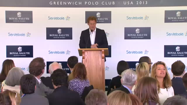 Interior shots Prince Harry speaks to guests at the Sentebale Royal Salute Polo Cup thanks the polo club as well as sponsors Prince Harry speaking to...