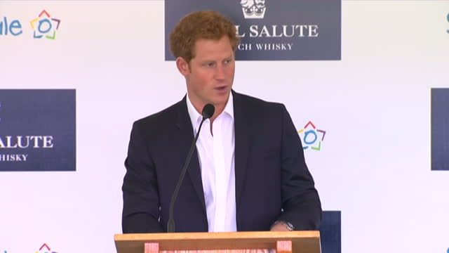 Interior shots Prince Harry talks on stage at the Sentebale Royal Salute Polo Cup about the future plans for the Mamohato programme gives thanks for...