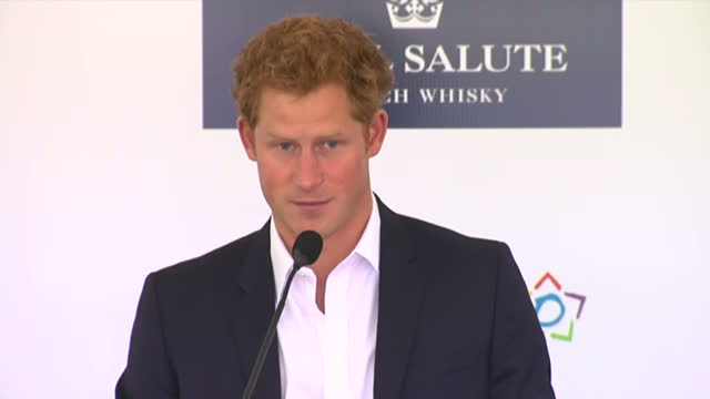 Interior shots Prince Harry talks on stage at the Sentebale Royal Salute Polo Cup about Sentebale the current HIV situation in Lesotho Prince Harry...