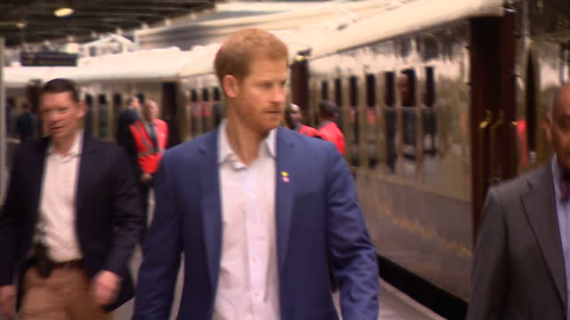 Interior shots Prince Harry walking past Paddington steam train in London England on Monday 16th October 2017