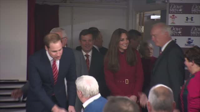 interior shots prince william catherine duchess of cambridge chatting with dignitaries guests at a reception in the millennium stadium before the... - millennium stadium stock videos & royalty-free footage