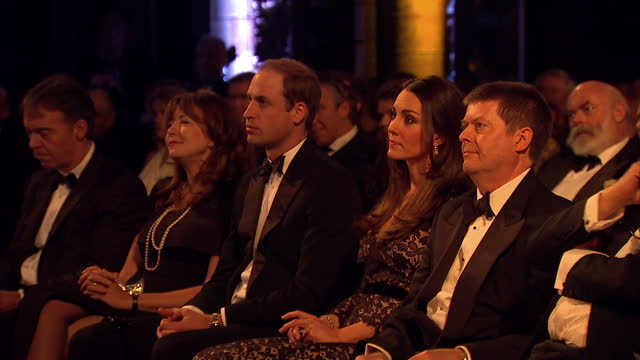 interior shots prince william catherine sat in screening putting on 3d glasses ready to watch then lights go down prince william catherine putting on... - 3d glasses stock videos & royalty-free footage