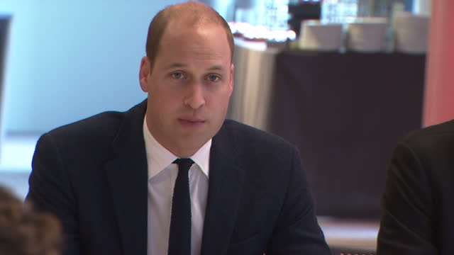 Interior shots Prince William Duke of Cambridge and British entrepeneur Brent Hoberman at final meeting of The Royal Foundation's Taskforce on the...