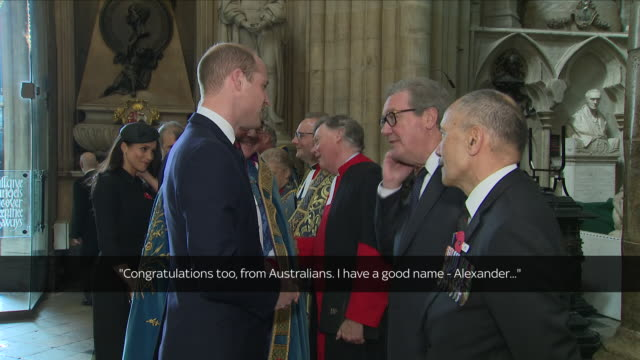 interior shots prince william duke of cambridge at westminster abbey anzac day service talking to sir jerry mateparae, new zealand high commissioner... - anzac day stock videos & royalty-free footage